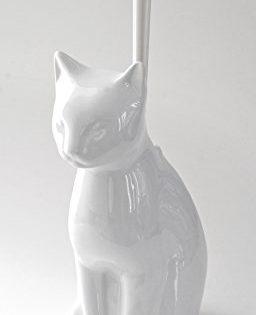 Easy Elegance Whimsical Ceramic Toilet Brush Holder - Cat or Dog Clean Cat