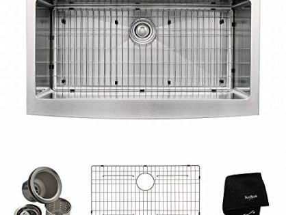 Kraus KHF200-36 36-inch Farmhouse Apron Single Bowl 16-gauge Stainless Steel Kitchen Sink