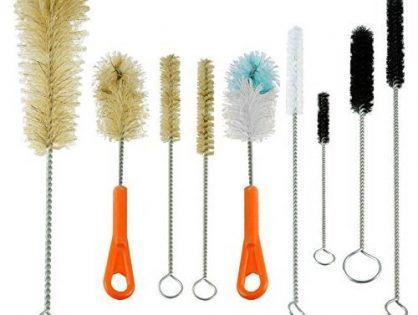 Natural & Synthetic Bristles Set 9 Sizes & Shapes - Ultimate Bottle & Tube Brush Cleaning