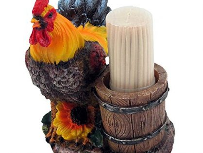 Home-n-Gifts Farm Rooster and Old Fashioned Water Pail Toothpick Holder Set