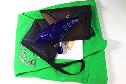jiarui Legend of Zelda Ocarina 12Hole Alto C Flute With Bag and Rope + FREE LINK HAT AND Silver PLATED TRIFORCE NECKLACE+FREE BROWN BAG