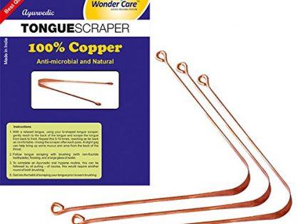 Wonder Care - 100% Copper Tongue Scraper/cleaner Ayurvedic Antibacterial for Optimal Oral Hygiene 3 Pieces