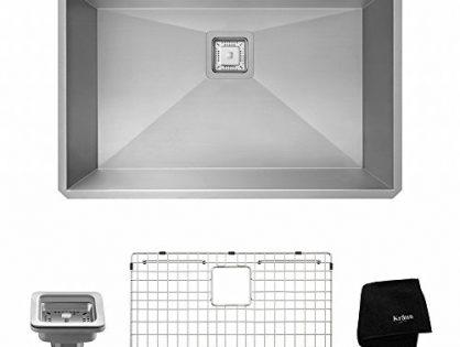 "Kraus KHU29 Pax Zero-Radius 28 1/2"" 16 Gauge Handmade Undermount Single Bowl Stainless Steel Kitchen Sink"