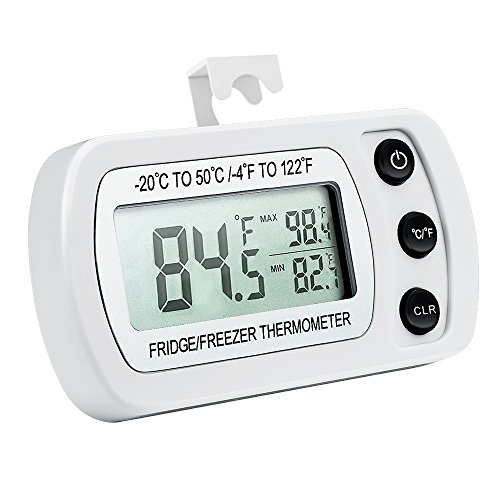 ORIA Digital Refrigerator Thermometer, Mini Freezer Thermometer, Refrigerator Freezer Waterproof, LCD Display, ℃/℉ Switch + Max/Min Record, for Kitchen, Home, Restaurants, Bars Battery Included