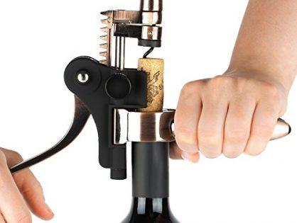 Wine Opener Set - Rabbit Corkscrew, Foil Cutter, Vacuum Wine Stopper, Extra Spiral and Stand - Open a Bottle in 3 Steps