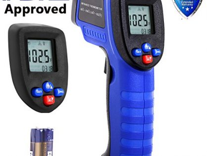 Koeson Professional Non-Contact Digital Laser Infrared Thermometer, Top Accuracy Temperature Gun -58℉~ 1022℉ -50℃ ~ 550℃ with HD Backlit LCD Display, Adjustable Emissivity, Firm Grip/ Blue & Black