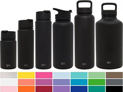 Simple Modern 40oz Summit Water Bottle + Extra Lid - Powder Coated for Healthy Humans Flask - Vacuum Insulated Stainless Steel Wide Mouth Hydro Travel Mug - Midnight Black