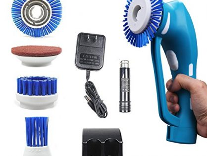 Power Scrubber, Household Spin Scrubber, Handheld Cordless Tile Scrubber for Bathroom and Kitchen with Rechargeable Battery, 1 Battery 3 Brushes &1 Scouring Pad