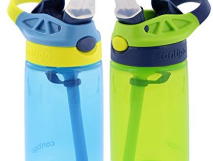 2 Pack - Contigo Kids Autospout Gizmo Water Bottle, 14oz Nautical Blue/Chartreuse