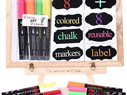 Chalk Pens - Washable Liquid Chalk, 8 Colored Window Markers with Reversible Tip + 8 Chalkboard Labels