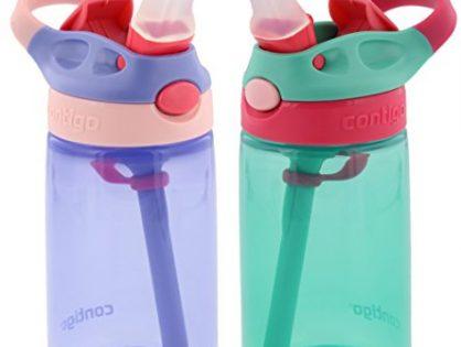Contigo Kids Autospout Gizmo Water Bottles, 14oz Lavender/Persian Green - 2 Pack
