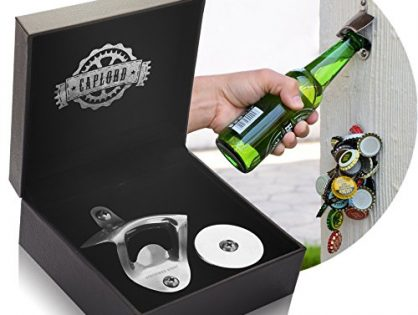 Stainless Steel - Bottle Opener Wall Mount with Magnetic Cap Catcher - by CAPLORD, Wall Mounted Beer Bottle Opener - Drinking Game Fun to Use at Every Party!