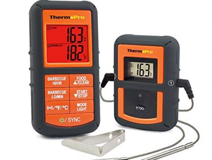 Monitors Food from 300 Feet Away - ThermoPro TP08 Wireless Remote Digital Cooking Meat Thermometer Dual Probe for Grilling Smoker BBQ Food Thermometer