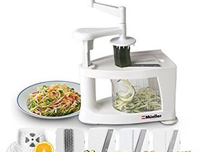 Mueller Spiral-Ultra 4-Blade Spiralizer, 8 into 1 Spiral Slicer, Heavy Duty Salad Utensil, Vegetable Pasta Maker and Mandoline Slicer for Low Carb/Paleo/Gluten-Free Meals