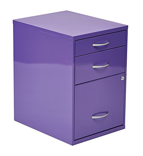 Office Star 3-Drawer Metal File Cabinet, Purple Finish