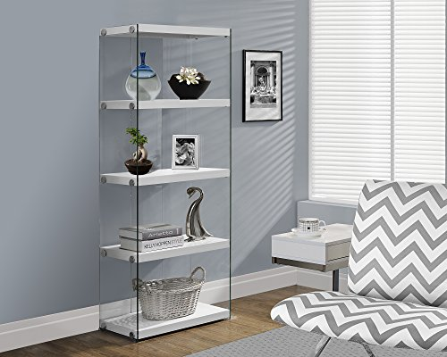 "Monarch specialties I 3289, Bookcase, Tempered Glass, Glossy White, 60""H"