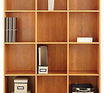 American Furniture Classics Large 12 Cube Storage Organizing Bookcase, Honey Maple