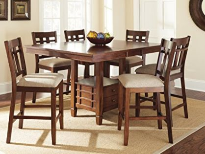 """Steve Silver Company Bolton Counter Height Dining Table with Storage, 48""""W x 48"""" - 60""""L with 12"""" Butterfly leaf x 36""""H"""