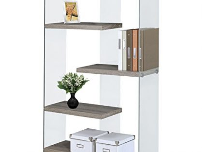 """Monarch Specialties I 3052 Dark Taupe with Tempered Glass Bookcase, 60"""""""