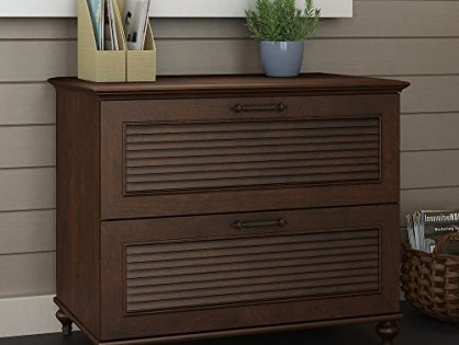 Bush Furniture kathy ireland Office by Volcano Dusk Lateral File Cabinet in Coastal Cherry