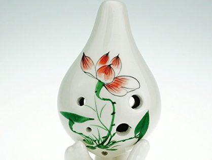 """Hand Painting """"Summer Lotus"""" 6 Hole Ocarina,Alto C,Glazed Ceramic,Beautiful Design,Wine Bottle Style by OcarinaWind"""