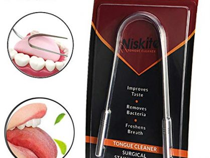 Tongue Scraper Cleaner,Niskite Professional Stainless Steel Tongue Brush,Eliminate Bad Breath and Bacteria with Tongue Sweeper Non-Synthetic Grip FDA Approved