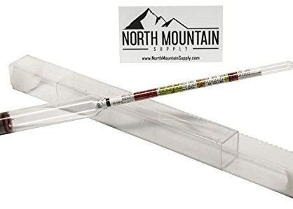 North Mountain Supply NMSTS-H Glass Triple Scale Hydrometer, Specific Gravity 0.760, 1.150, Potential ABV 0-16%, Sugar Per Liter 0-341, Clear
