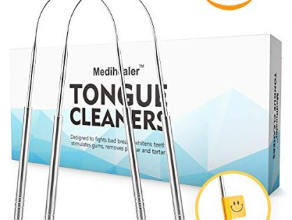 Bad Breath Cure, Tongue Coating Removal, 2 PCS Vertical - Stainless Steel Tongue Cleaner for Adult, Dental Hygiene And Health Oral Cleaning Tool - Tongue Scraper Cleaner 2 Packs