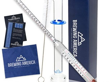Thermo Hydrometer ABV Tester Kit: Pro Series Triple Scale Thermo-Hydrometer N.I.S.T. Traceable & Glass Test Tube Jar