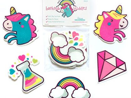 Curious Columbus Non-Slip Bathtub Stickers. Pack of 10 Large Unicorns and Rainbows Decal Treads. Best Adhesive Safety Anti-Slip Appliques for Bath Tub and Shower Surfaces