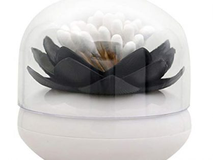 ESTD 1Pc Lotus Toothpick Cotton Bud Swab Holder Storage Box Home Decor Black