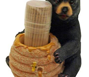 Decorative Lodge Cabin Bear Cub Decor - 1 X Cute Black Bear / Honey Pot Toothpick Holder