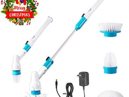 Spin Scrubber, 360 Cordless Tub and Tile Scrubber, Multi-Purpose Power Surface Cleaner with 3 Replaceable Cleaning Scrubber Brush Heads, 1 Extension Arm and Adapter