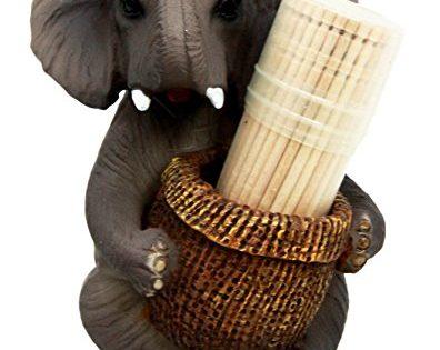 Atlantic Collectibles African Safari Elephant Decorative Toothpick Holder Figurine With Toothpicks