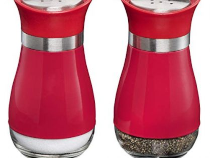 MITBAK Salt and Pepper Shakers 2-Pc. Set Elegant w/Clear Glass Bottom | Compact Cooking, Kitchen and Dining Room Use | Classic, Refillable Design Red