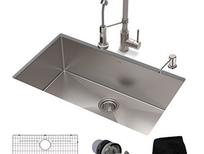 KRAUS KHU100-30-1610-53SS Set with Standart PRO Bolden Commercial Pull Stainless Steel Kitchen Sink & Faucet Combo, 30 inch