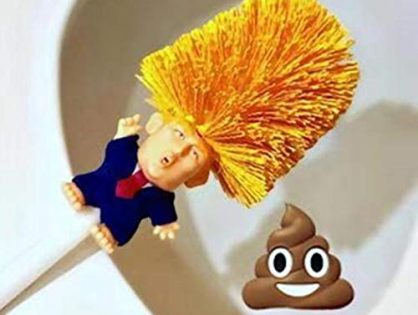 Toilet Brush Set with Holder, Cartoon Trump, Plastic - Bathroom Bowl Cleaner and Base, Good Grip Strong Bristles Yellow - Didade