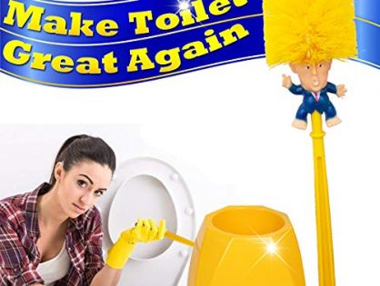 Donald Trump Toilet Brush Cleaner Scrubber Set Funny Trump Toilet Bowl Brush and Holder for Bathroom Storage Non-Skid Base Sturdy Deep Cleaning Make Toilet Great Again Brush+Base Ship from US