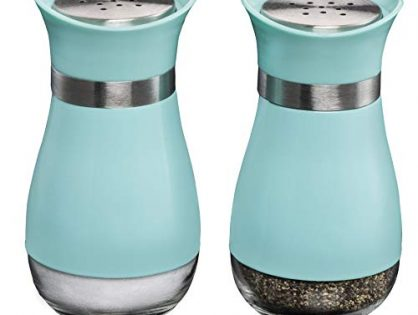 MITBAK Salt and Pepper Shakers 2-Pc. Set Elegant w/Clear Glass Bottom | Compact Cooking, Kitchen and Dining Room Use | Classic, Refillable Design Blue