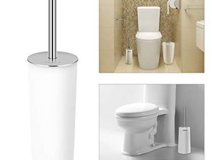 PIXNOR Toilet Brush with Holder in Attractive Modern Design Stainless Steel 15 Inch Handle. Soft, Dense, Long Bristles Clean Easily White