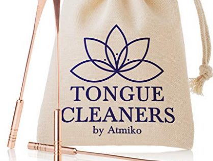 Tongue Scraper, Ayurvedic Antimicrobial Metal Tongue Cleaner Pack of 2 made of Pure Copper for Daily Oral Dental Hygiene Fresh Breath and Health + Cotton Pouch
