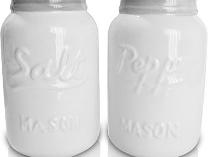 White Vintage Inspired Ceramic Mason Jar Salt and Pepper Shakers 8 oz - Set of 2, Super Cute, Retro, Aqua Blue Decorative and Functional, Durable Ceramic Shakers by My Fancy Farmhouse New White