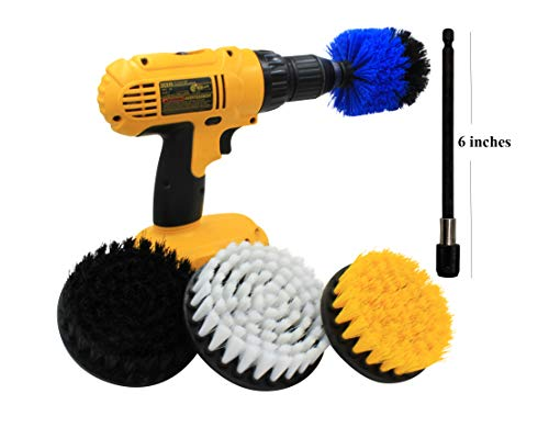 4 Piece Drill Brush Set with 6in Extender for All Purpose Cleaning in Your Home Including bathrooms, Kitchens, Grills, Grout, Tile, Carpet, Furniture, Floors and Much, Much More. *Drill not Included*