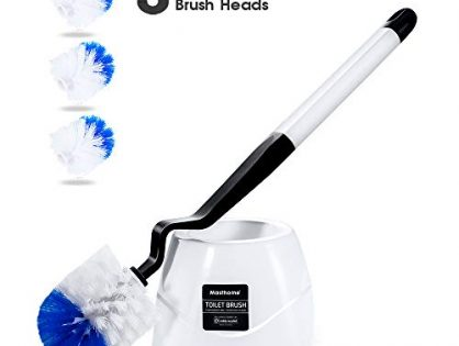 Masthome Toilet Brush Set with Holder and 3 Brush Heads for Bathroom Toilet Deep Cleaning Easy Storage Toilet Cleaning Brush