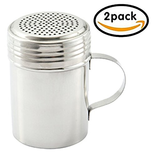 Stainless Steel Dredge Shaker with Handle, Set of 2 – 10 oz.