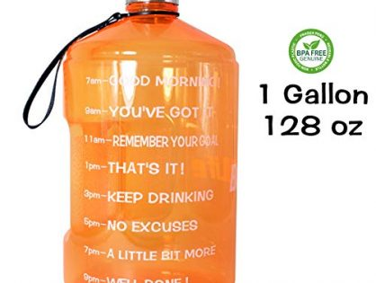 QuiFit 1 Gallon Water Bottle Reusable Leak-Proof Drinking Water Jug for Outdoor Camping Hiking BPA Free Plastic Sports BottleOrange