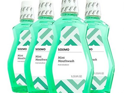Solimo Mint Mouthwash, Fresh Mint, 1 Liter Pack of 4 - Amazon Brand
