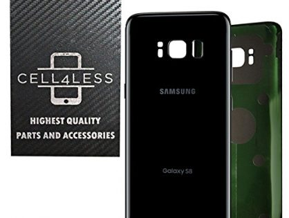 OEM Replacement Midnight Black - CELL4LESS Replacement Back Glass Cover Back Battery Door w/Pre-Installed Adhesive Samsung Galaxy S8 OEM - All Models G950 All Carriers- 2 Logo