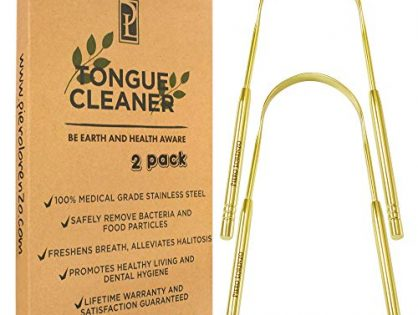 Medical Grade Stainless Steel Metal - Tongue Cleaner - by Piero Lorenzo Products 304 Stainless Steel - Golden - A lightweight bag - Tongue Scraper - Eliminate Bad Breath With Tongue - 2 Pack