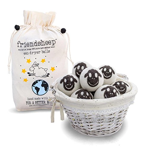 Premium Quality - 100% Handmade, Fair Trade, Organic, No Lint - 6 Pack - Friendsheep Organic Eco Wool Dryer Balls